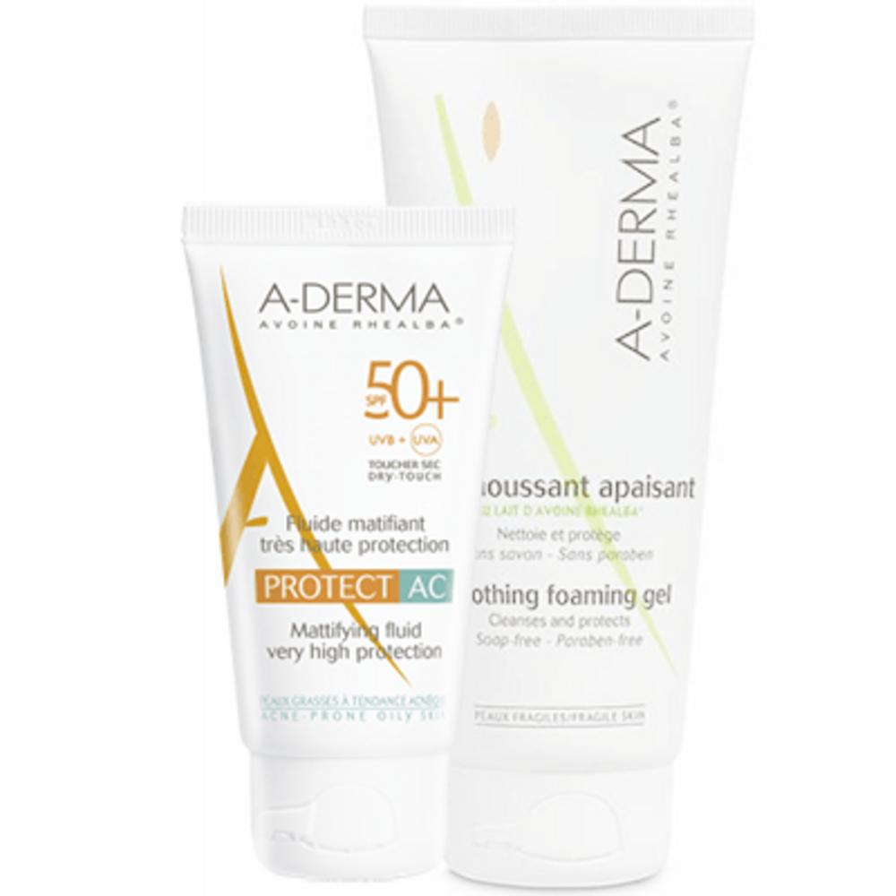 A-derma protect ac fluide matifiant très haute protection spf 50+ 40 ml + gel moussant 100 ml offert Aderma-220870