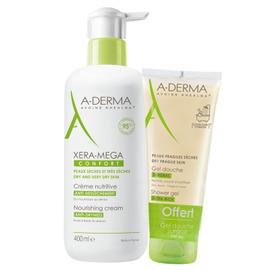 A-derma xera-mega confort crème nutritive 400ml + gel douche surgras 100ml offert - aderma -225518