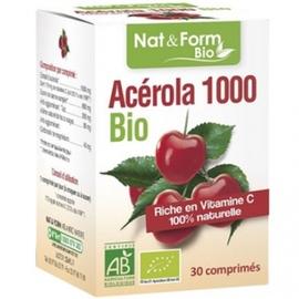 Acérola 1000 bio 30 comprimés - nat & form -199305