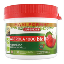 Acérola 1000 bio - 60 comprimés - 60.0 unites - vitamine c - super diet -11092
