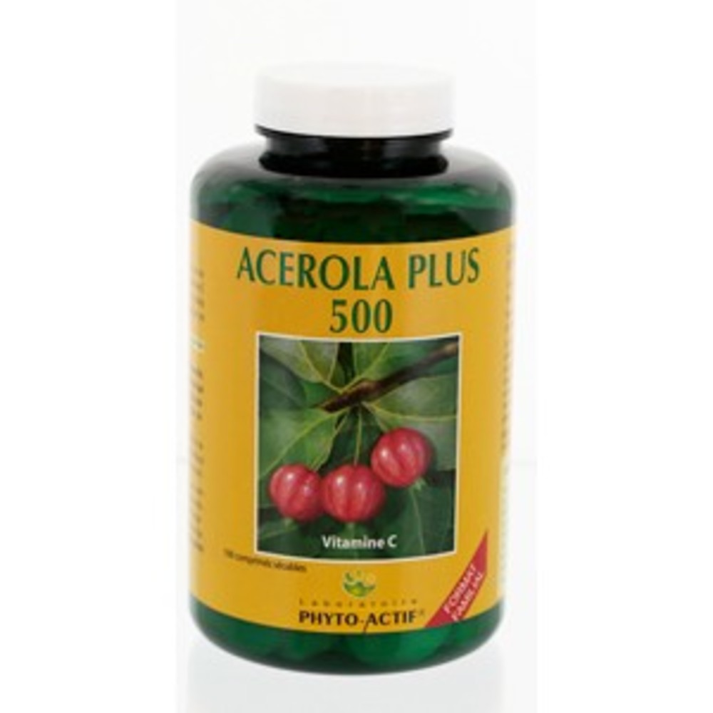 Acérola + 500 - 100.0 unites - les compléments alimentaires - phyto-actif Vitamine C-10008