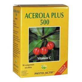 Acérola + 500 - 30.0 unites - les compléments alimentaires - phyto-actif Vitamine C-10007