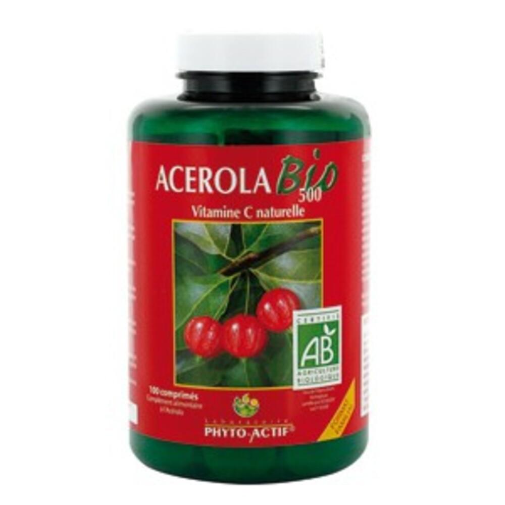 Acérola bio 500 - 100.0 unites - les compléments alimentaires - phyto-actif Vitamine C bio-10010