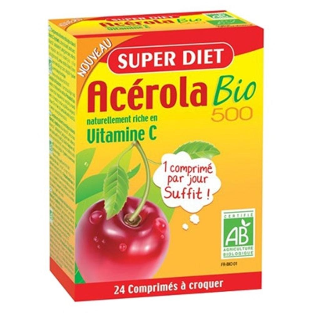 Acérola bio 500 - 24 comprimés - 24.0 unites - vitamine c - super diet -138446