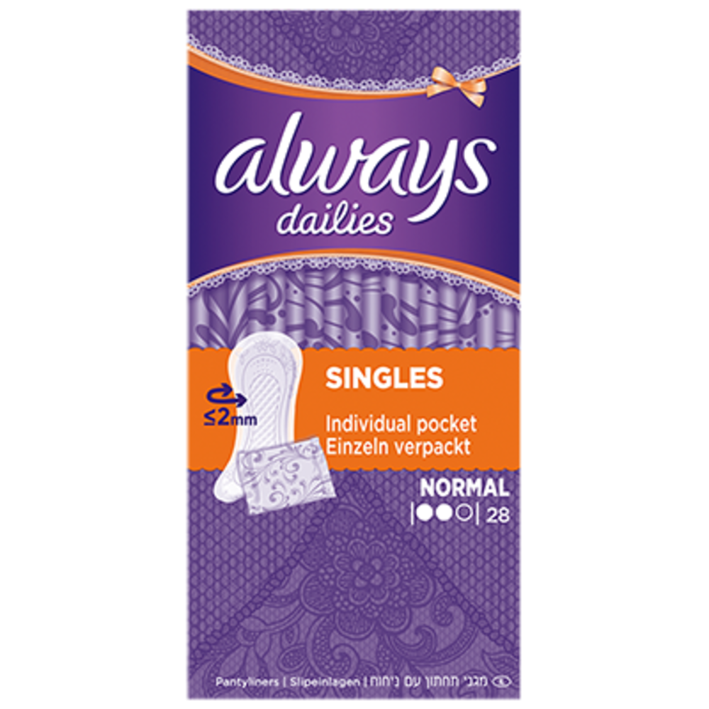 Always dailies singles normal - 28 pochettes individuelles Always-206106