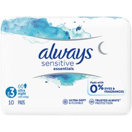 Always sensitive essentials serviettes taille 3 ultra night avec ailettes x10 - 10.0 u - always -225254