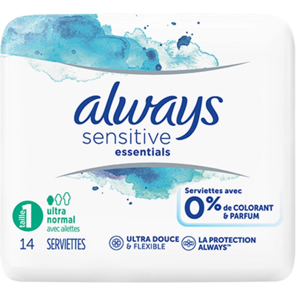 Always sensitive essentials taille 1 ultra normal x14 Always-225252