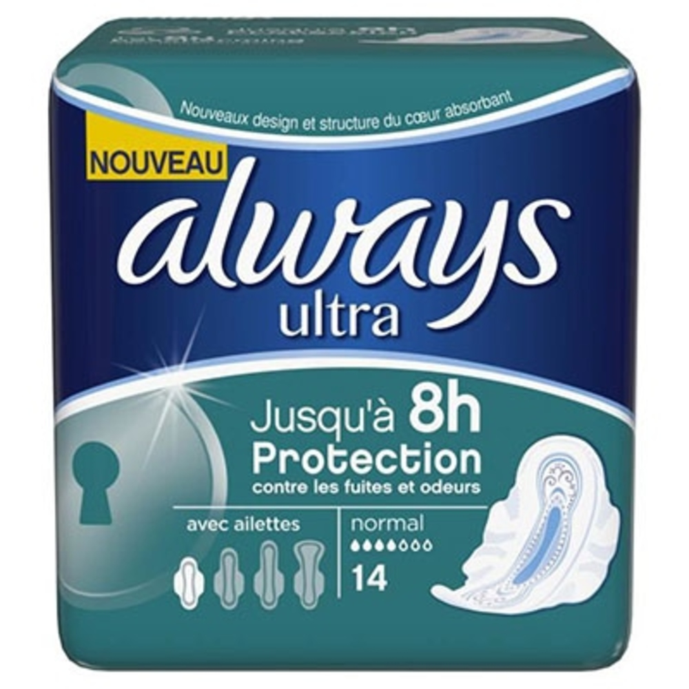 ALWAYS Ultra Normal avec ailettes Taille 1 - 14 serviettes hygiéniques - Always -204749