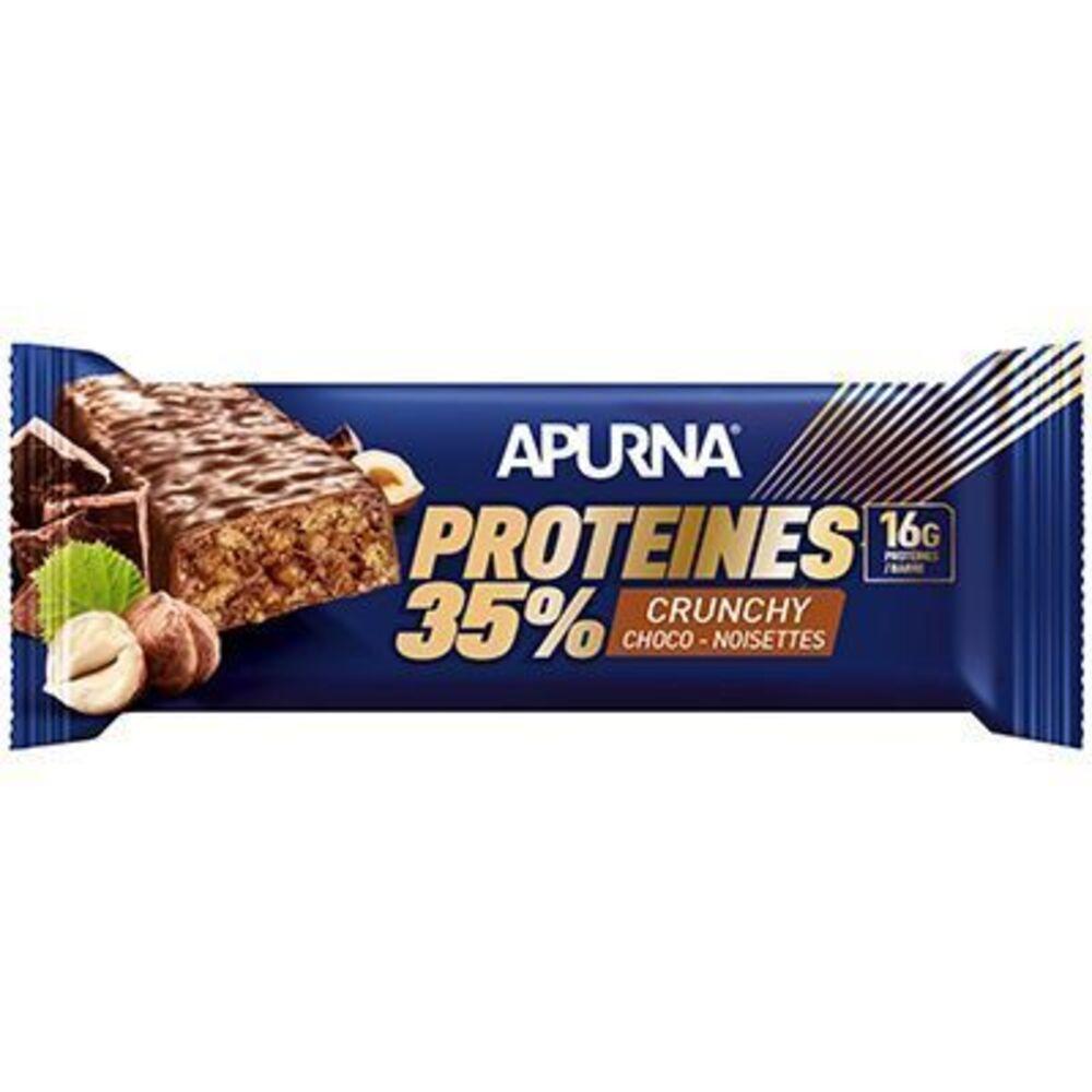 Apurna barre hyperprotéinée crunchy choco-noisettes 45g - apurna -225302