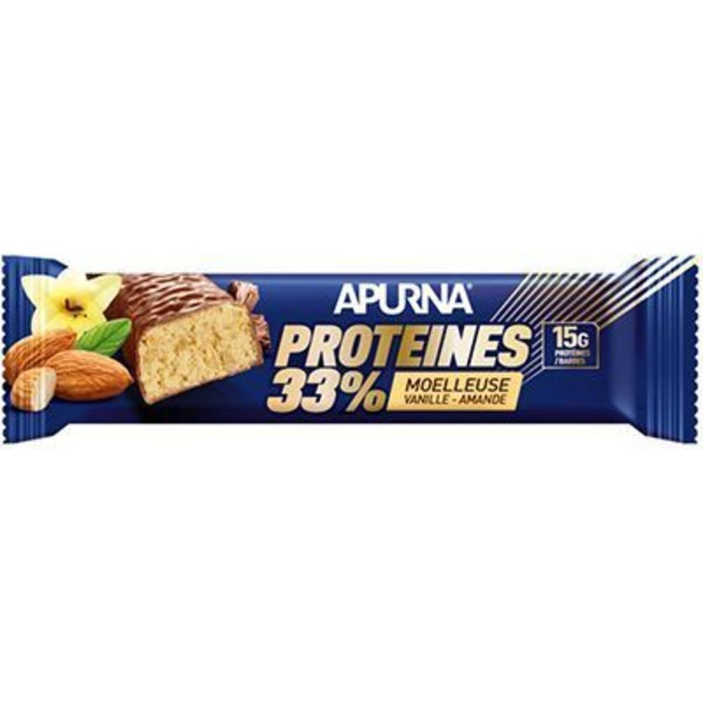 Apurna barre hyperprotéinée moelleuse vanille amande 45g Apurna-225304