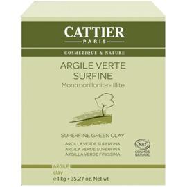 Argile verte fine bio 1kg - 1000.0 g - vrac - cattier Peaux mixtes à grasses-4726