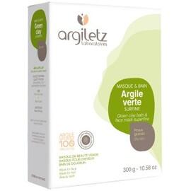 Argile verte surfine - 300.0 g - poudre d'argile verte - argiletz -9617