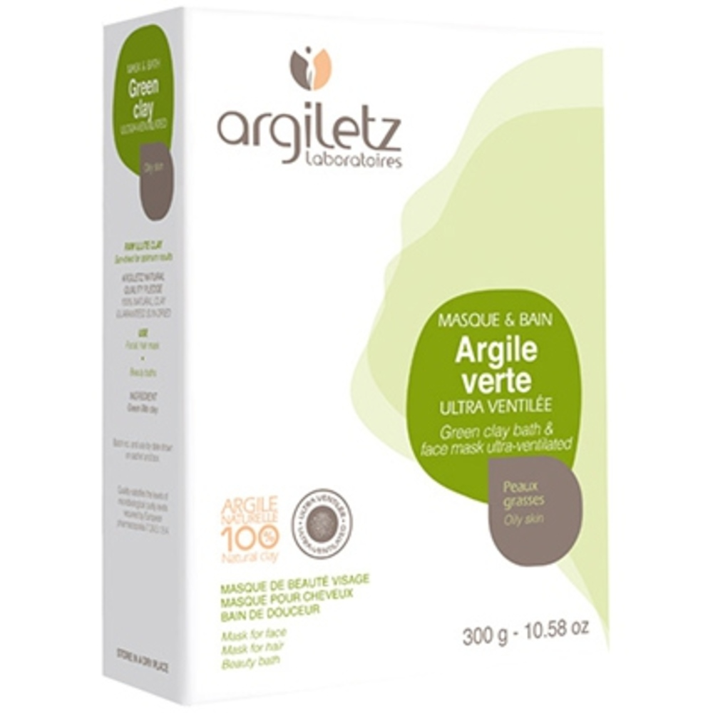 Argile verte ultra-ventilée - 300.0 g - poudre d'argile verte - argiletz Ultra ventilée-2663