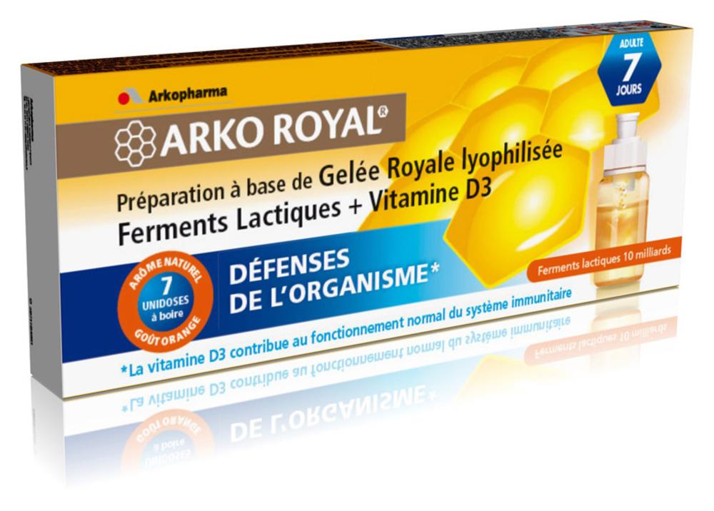 Arko royal gelée royale + ferments lactiques + vitamine d3 - 7.0 unites - défense de l'organisme - arkopharma Arko Royal Gelée Royale + Ferments Lactiques + vitamine D3-103116