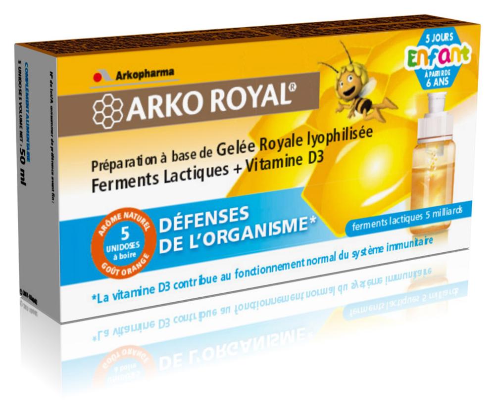 Arko royal gelée royale + ferments lactiques + vitamine d3 - enfants - 5.0 unites - défense de l'organisme - arkopharma Arko Royal Gelée Royale + Ferments Lactiques + vitamine D3 - Enfants-104412
