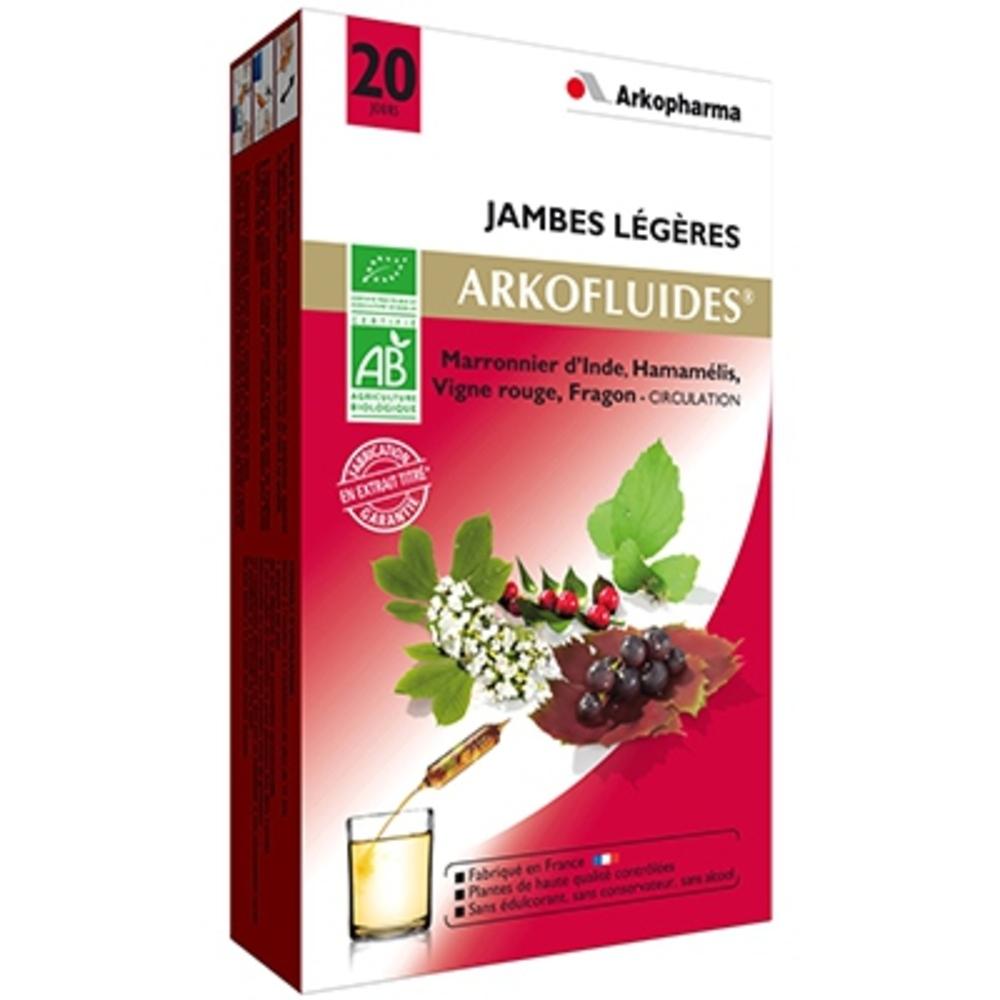 ARKOFLUIDES Jambes Légères BIO - 20 ampoules - 300.0 ML - jambes légères - Arko Pharma Arkofluides Jambes Légères Bio-147796