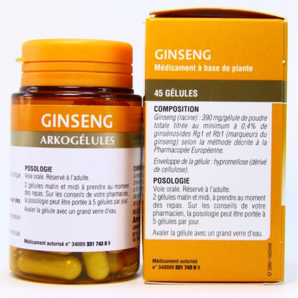 arkogelules ginseng 45 g lules arkopharma achat au meilleur prix pharmacie en ligne. Black Bedroom Furniture Sets. Home Design Ideas