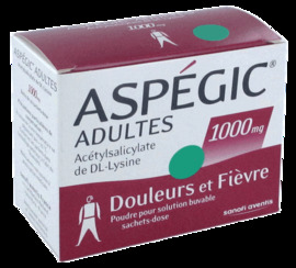 Aspegic adultes 1000mg - 20 sachets - sanofi -192431