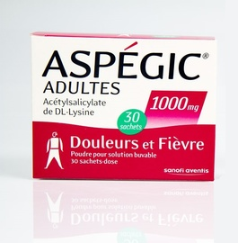 Aspegic adultes 1000mg - 30 sachets - sanofi -192929