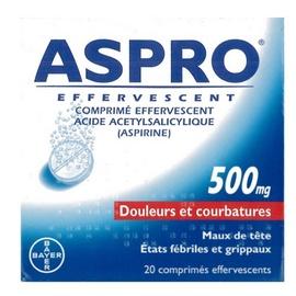Aspro 500 effervescent - 20 comprimés - bayer -206829