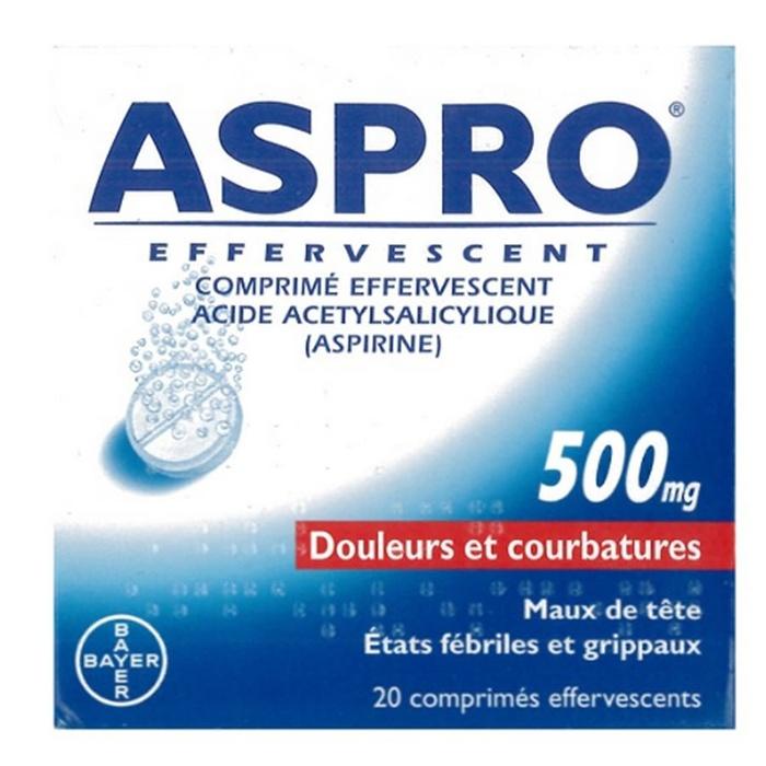 Aspro 500 effervescent - 20 comprimés Bayer-206829