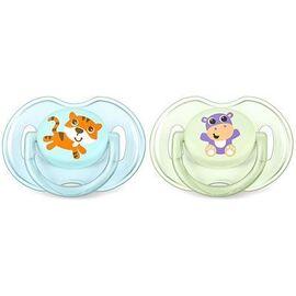Avent sucette aérée silicone 0-6mois hippopotame/tigre x2 - avent -219431