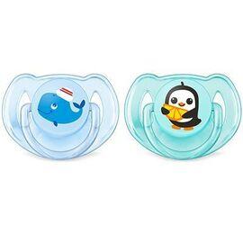Avent sucette aérée silicone 6-18mois pingouin/baleine x2 - avent -219435