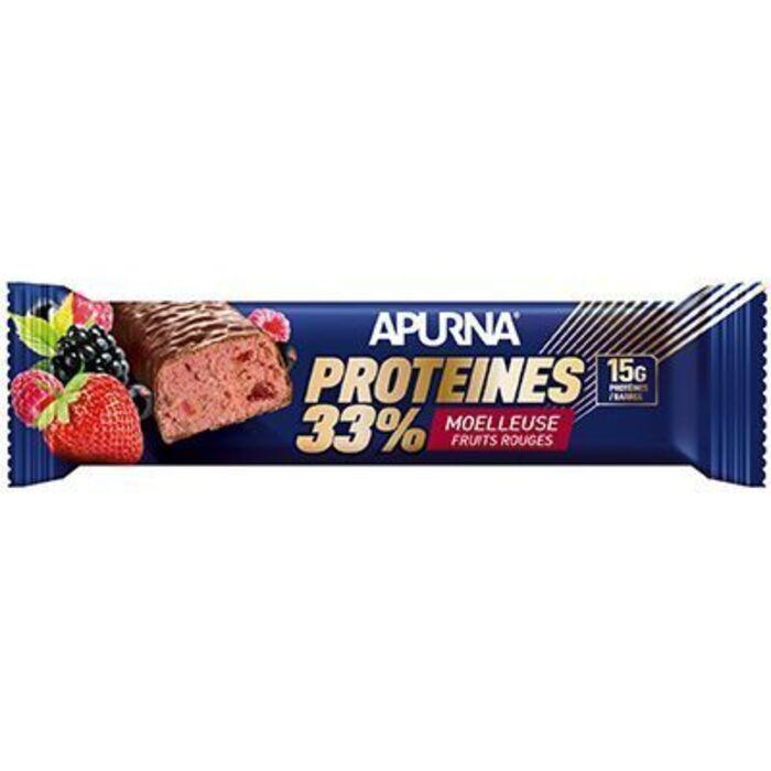 Barre hyperprotéinée moelleuse fruits rouges 45g Apurna-225303