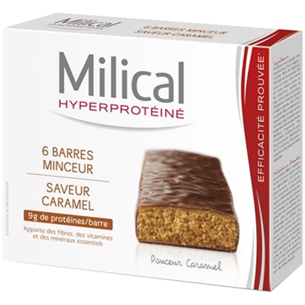 Barres minceur caramel x6 - 6.0 unites - hyperprotéinée - milical -7356