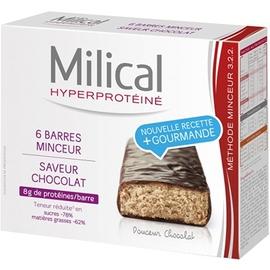 Barres minceur chocolat x6 - 6.0 unites - hyperprotéinée - milical -7355