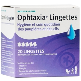 Bausch + lomb ophtaxia lingettes x20 - bausch & lomb -205527