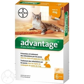 BAYER Advantage 40 Anti-puces Chat et Lapin -4kg - 4 pipettes - 3.0 ML - BAYER -191288