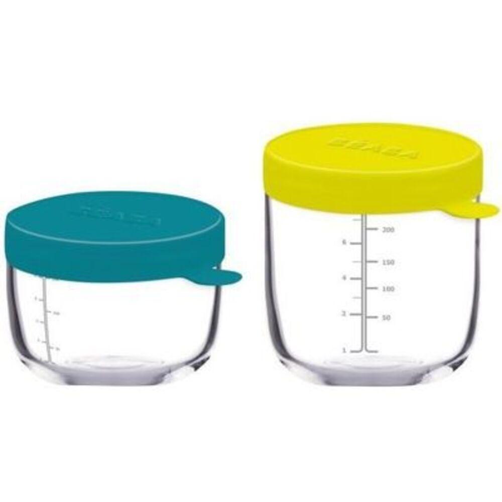 Beaba coffret 2 portions verre bleu neon 150ml & 250ml - beaba -221935