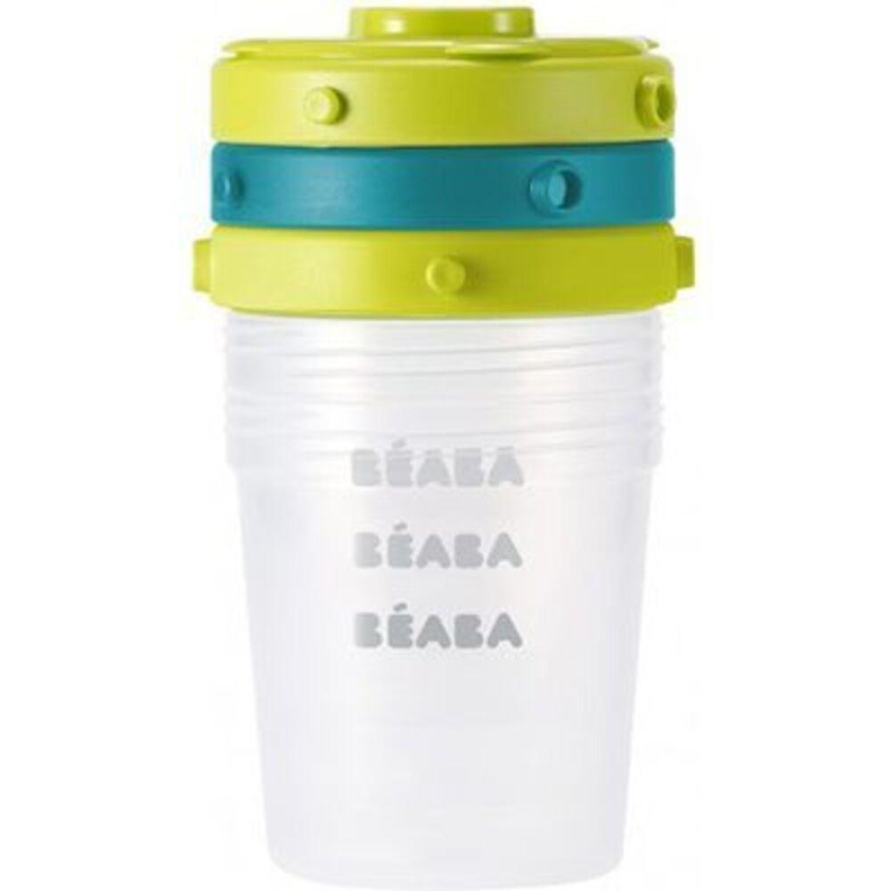 Beaba pots de conservation portions clip bleu neon 200ml x6 - beaba -221934