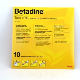 Betadine tulle 10% - 10 sachets - meda pharma -193996