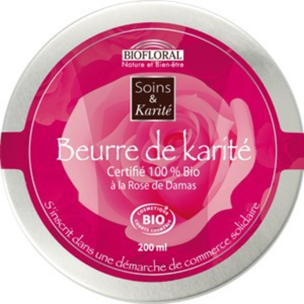 Beurre de karité à la rose de damas bio - 200 ml - divers - biofloral -134005