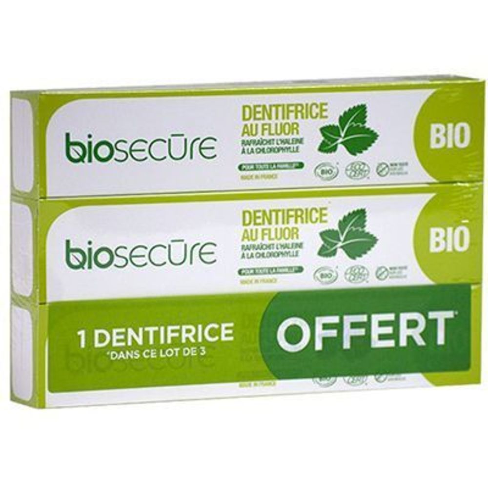 Bio secure dentifrice au fluor lot de 3 x 75ml - bio secure -220768