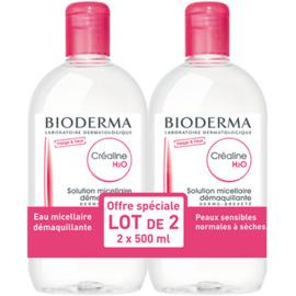 Bioderma créaline h2o sans parfum 2x500ml - 500.0 ml - créaline peaux sensibles - bioderma Solution micellaire-7432