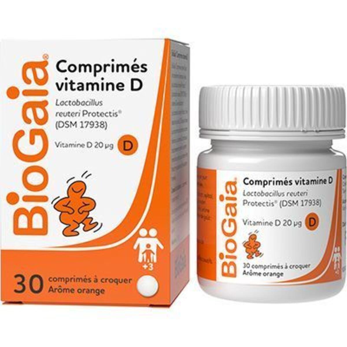 Biogaia probiotique vitamine d goût orange 30 comprimés à ...