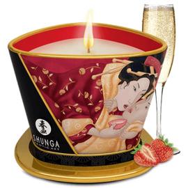 Bougie de massage romance vin pétillant à la fraise - shunga -223858