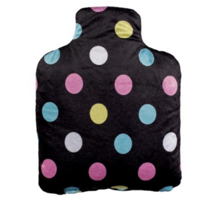Bouteille bouillotte noir pois multicolores Pelucho-223288