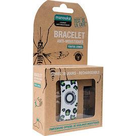Bracelet anti-moustiques blanc vert + recharge 6ml - manouka -226358