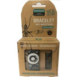 Bracelet anti-moustiques noir blanc + recharge 6ml - manouka -226366