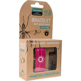 Bracelet anti-moustiques rose + recharge 6ml - manouka -226359