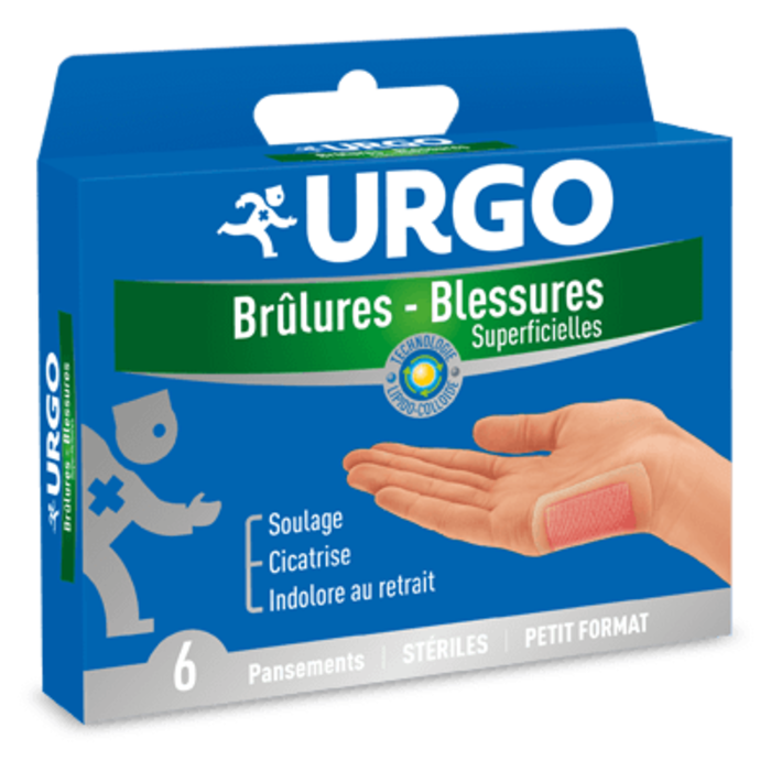 Brûlures blessures superficielles pansement petit format x6 Urgo-145665