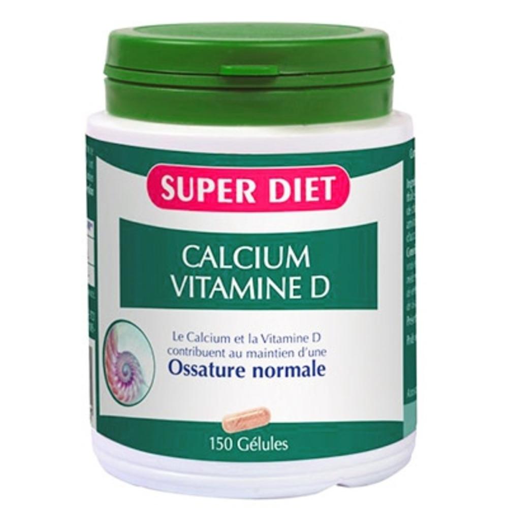 Calcium + vitamine d - 150 gelules - 150.0 unites - les super nutriments - super diet Entretien des os-138950