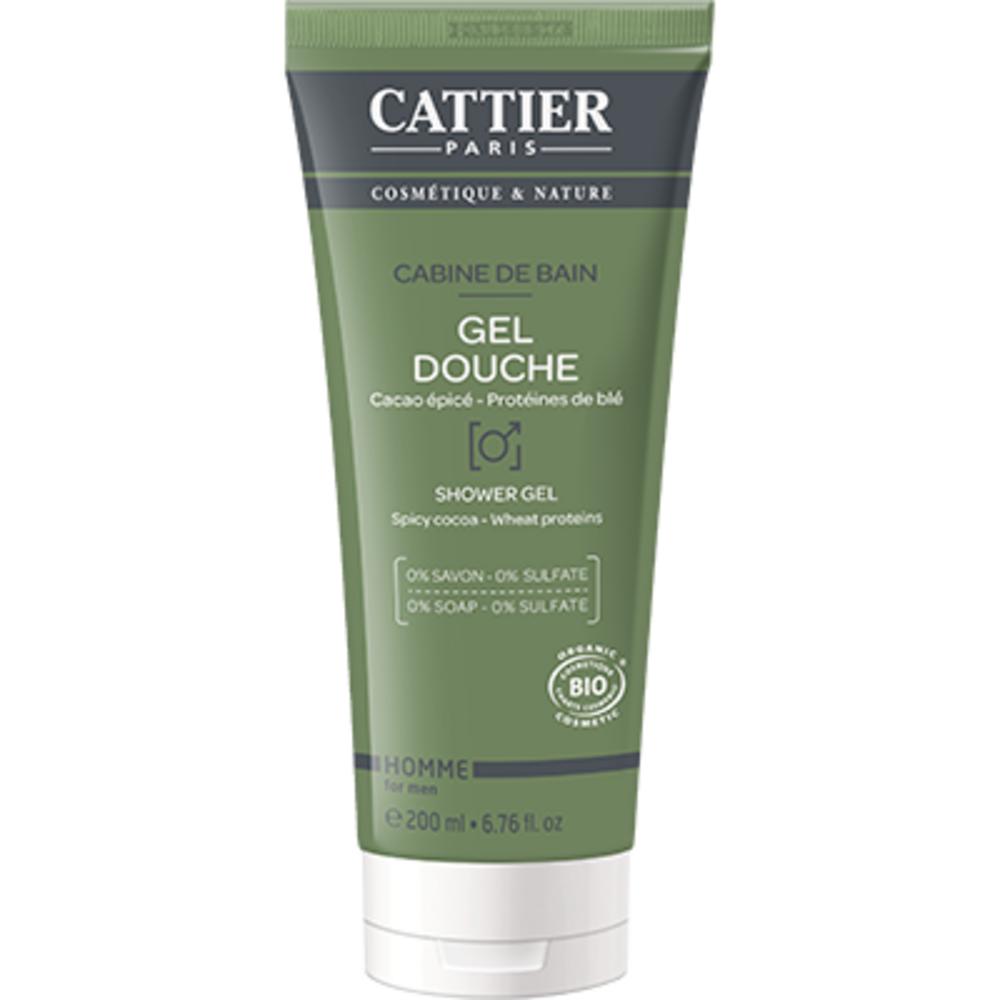 Cattier gel douche homme cabine de bain bio 200ml - 200.0 ml - homme - cattier Nettoie en douceur et protège la peau-103886