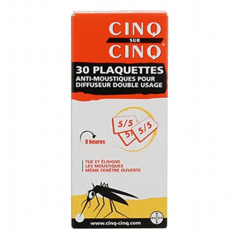 Cinq sur cinq 30 plaquettes anti-moustiques pour diffuseur double usage - bayer -83727