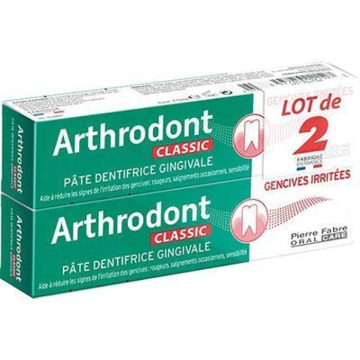 Classic pâte dentifrice gingivale lot 2x75ml Arthrodont-229387