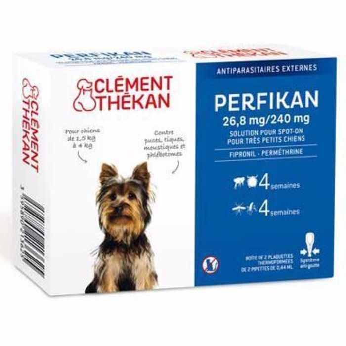 Clement thekan 26,8 mg/240 mg très petits chiens 4 pipettes Clement thekan-191019